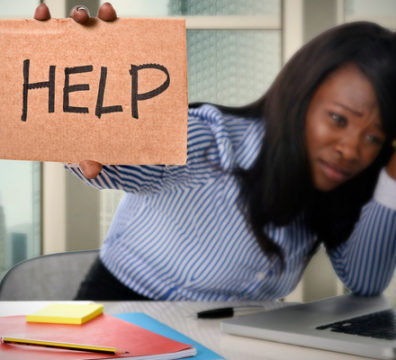 black African American ethnicity tired frustrated woman working in stress