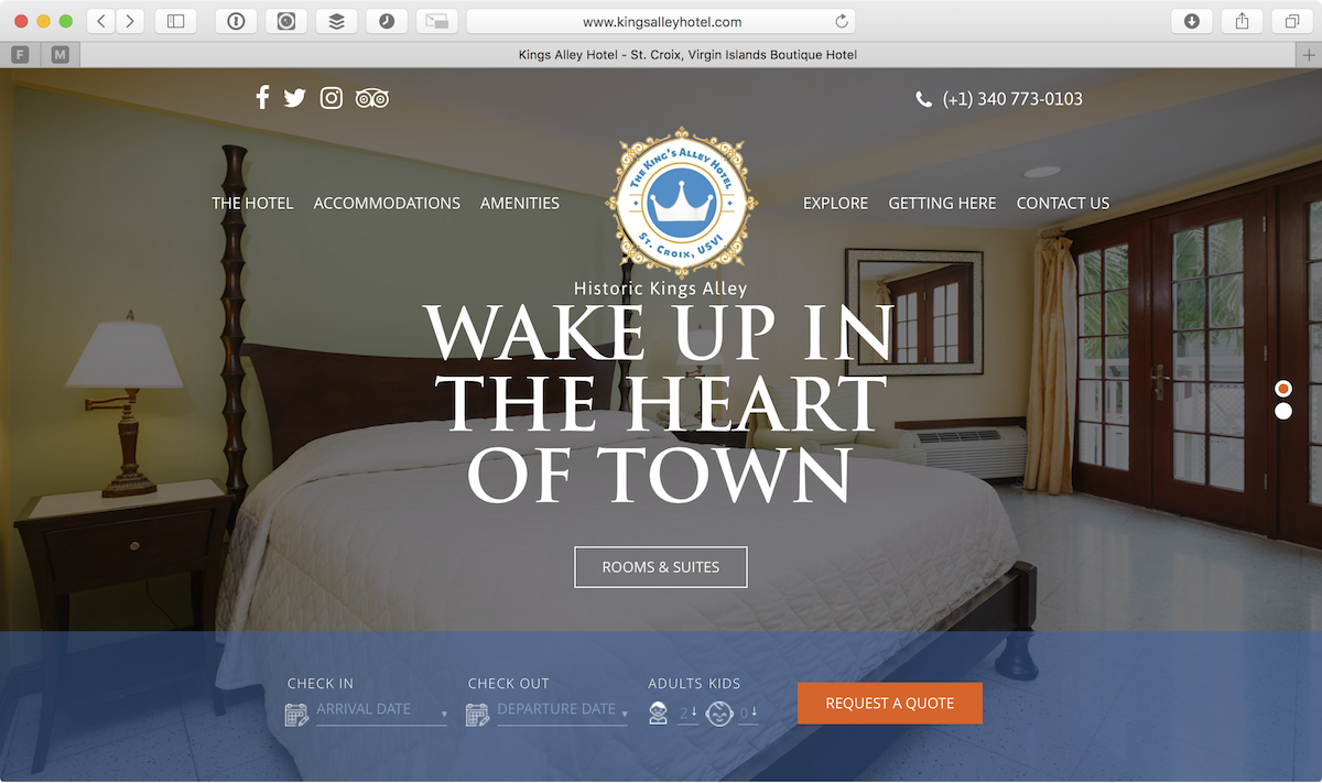 Screenshot of the Kings Alley Hotel website