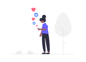 Illustration of woman looking at her phone on social media