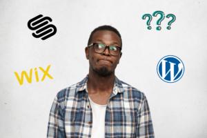 Man thinking between WordPress vs. Wix vs. Squarespace