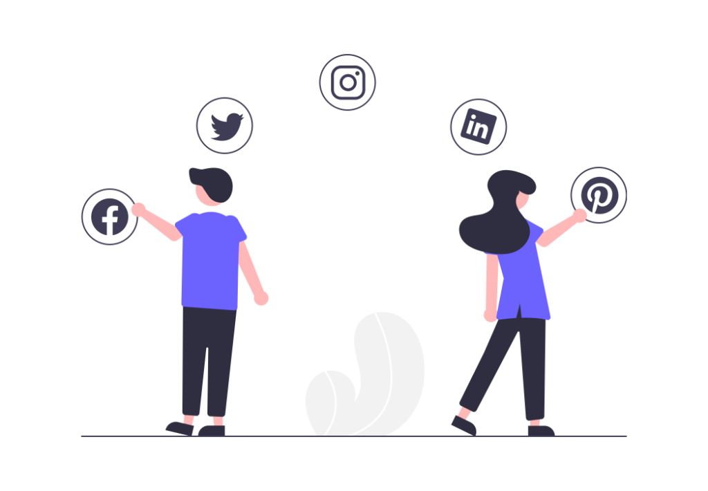Image of two people looking at social media platform icons